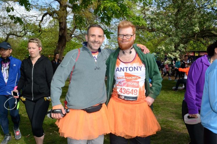 Me and Paul both wearing MS Society running tops and with orange tutus on